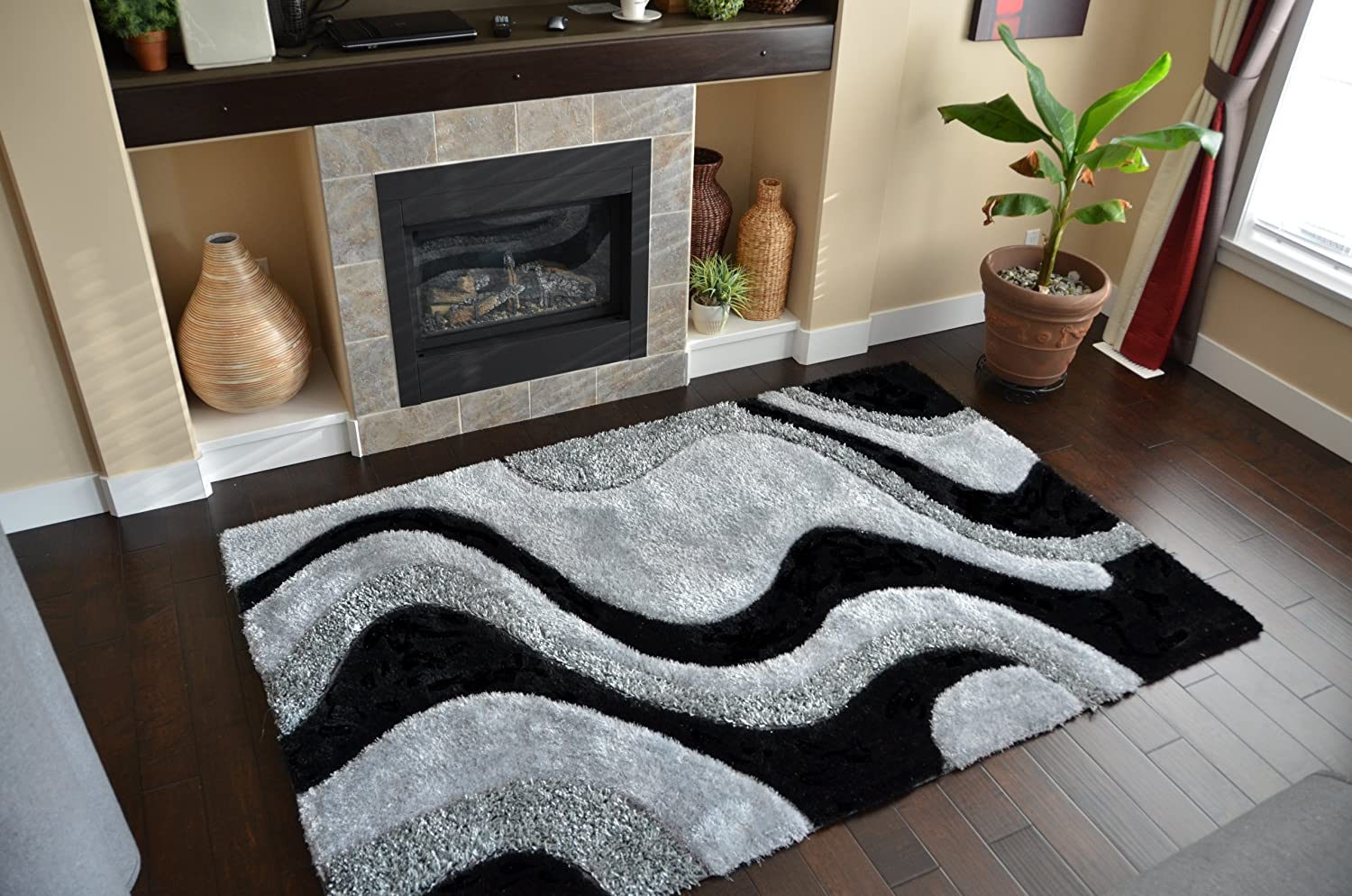 Hand Tufted Black Grey Abstract Pattern Fashion Design Luxury Rugs