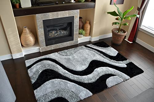 Hand Tufted Black Grey Abstract Pattern Fashion Design Luxury Rugs Size 5×8