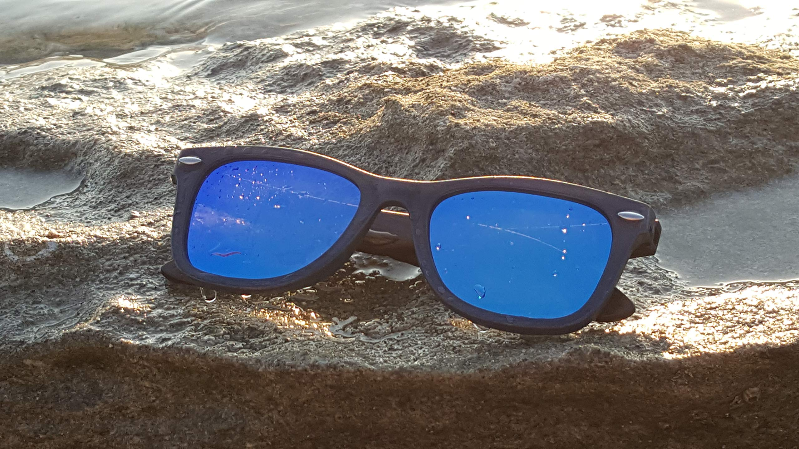 Real Wood Sunglasses Wayfarer UV-400 Polarized Lenses Plus Cap in Gift box by WOODB (Image #7)