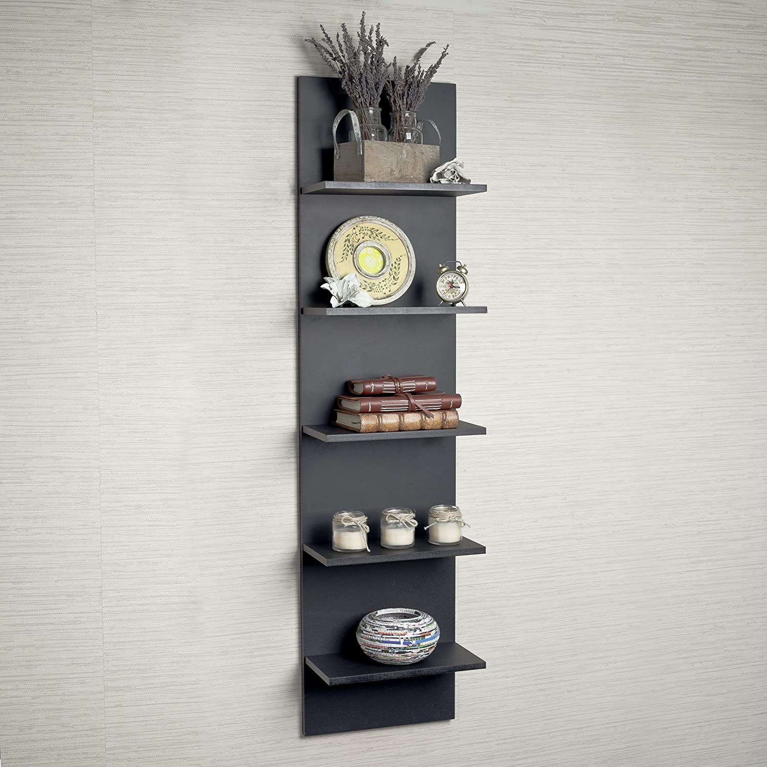 Amazon black grain finish wide column wall shelf home kitchen amipublicfo Images