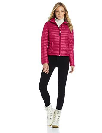 a5d19715b7265 Amazon.com: Tommy Hilfiger Women's Short Packable Down Jacket with Wave  Quilting, Fuchsia, Small: Clothing