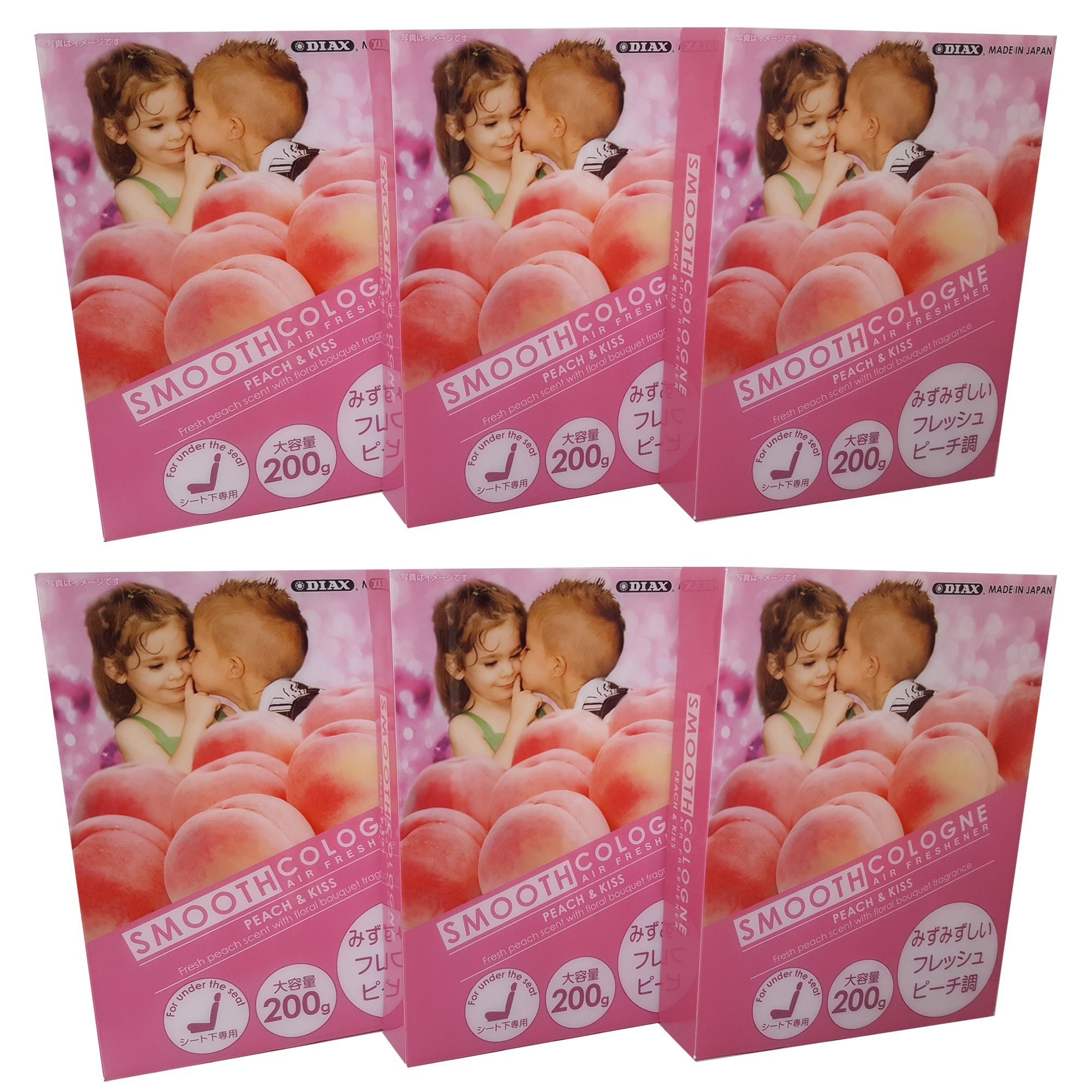 Smooth Cologne 6-pack Peach & Kiss (Fresh Peach Scent with Floral Bouquet Fragrance) Luxury Air Freshener JDM Genuine Diax Japan for Home/office/ Car/Auto/ Rv
