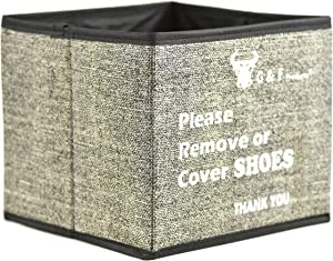 """Shoe Covers Box, Foldable Collapsible Shoe Covers Holder Bootie Box holds up to 100 Disposable Shoe Covers Box for Realtors and Open House also works as Foldable Collapsible storage bin 9""""x9""""x9"""""""