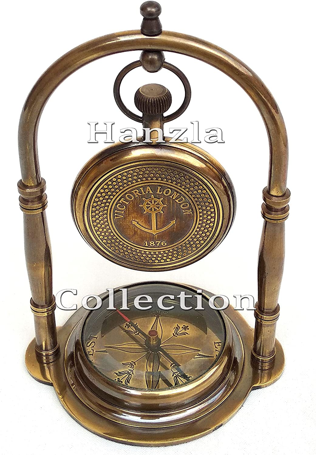 Antique Nautical Desk Clock With Brass Stand Hanging Home Decor Collectible Gift