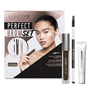 WUNDER2 PERFECT BROW SET- WunderBrow Eyebrow Gel, WunderCleanse & Dual Precision Brush, Black/Brown
