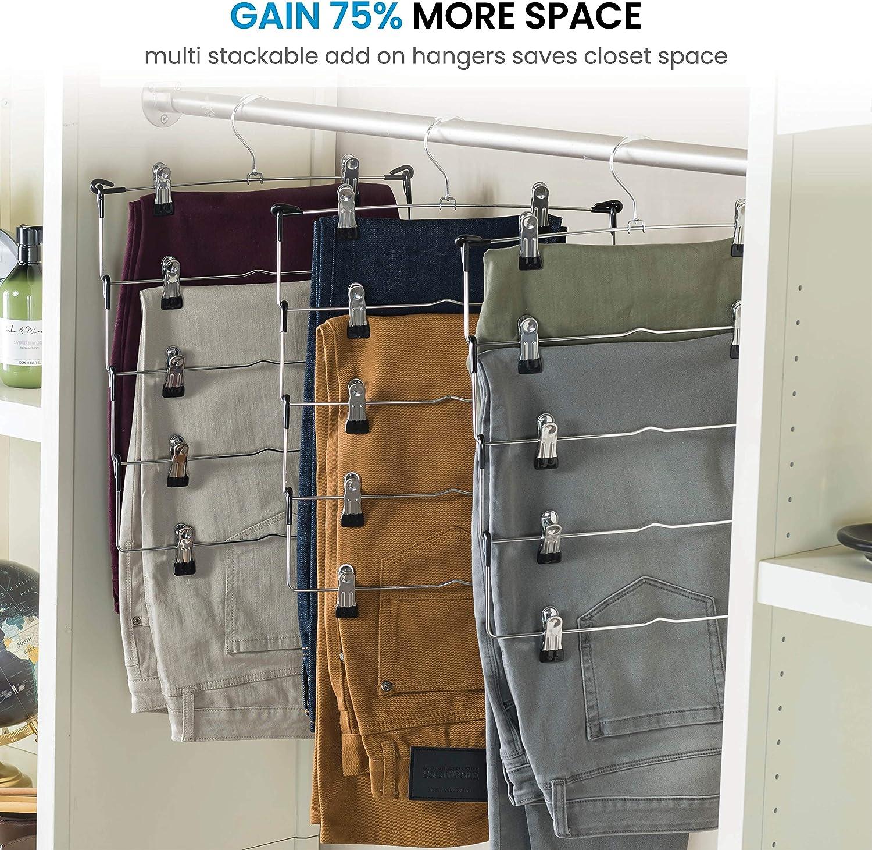 Space Saving 5 Tier Metal Skirt Hanger with Clips Hang 5-on-1 Adjustable Clips Pants Hanger Hang Slack,Trouser,Jeans,Towels Gain 70/% More Space 360 Swivel Hook 6 Pack Rubber Coated Hanger Clips