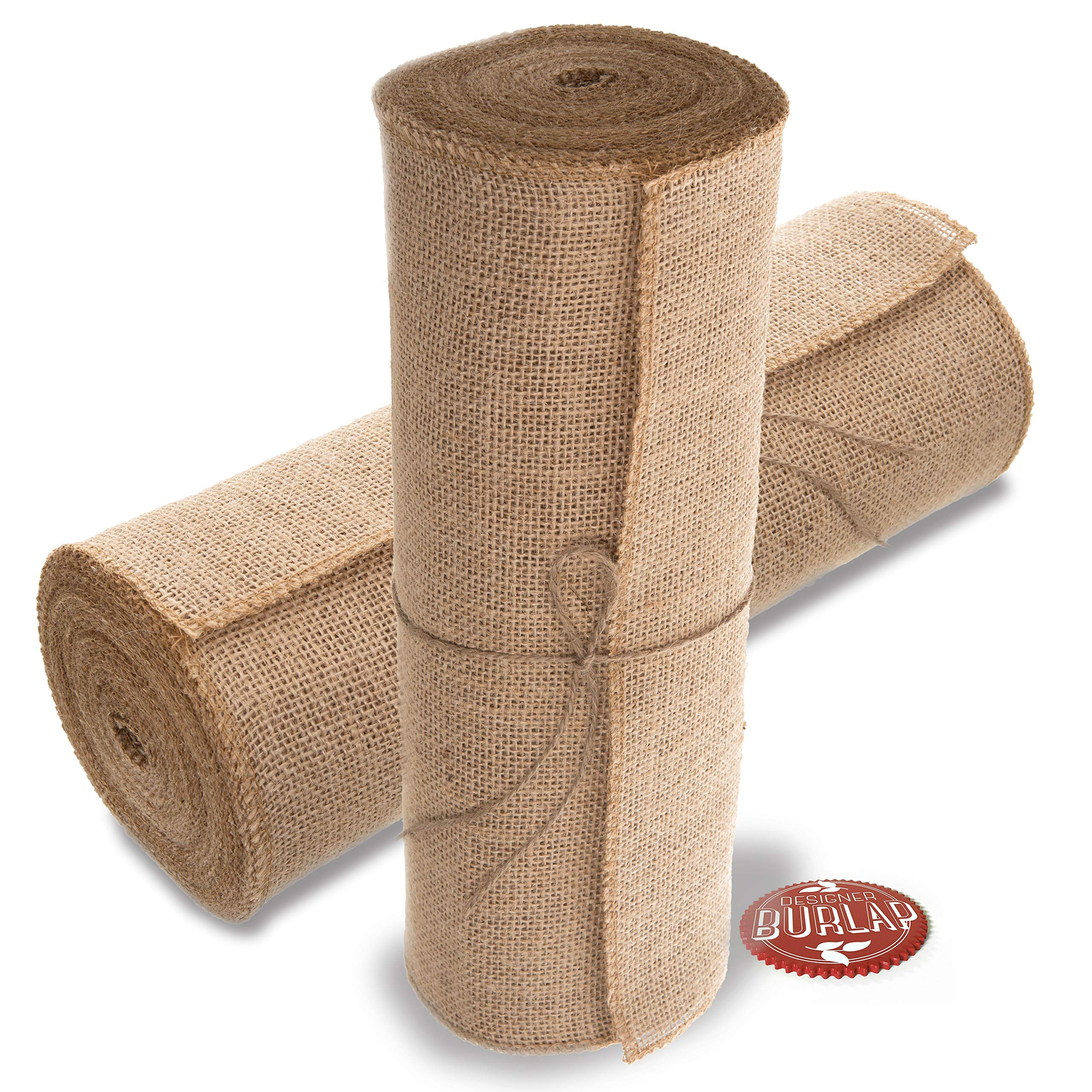 Burlap Table Runner - 14 Inch Wide X 10 Yards Long Burlap Roll - Burlap Fabric Rolls. A No-Fray Burlap Runner with Overlocked and Sewn Edges for Rustic Weddings, Decorations and Crafts! by Designer Burlap