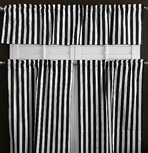 lovemyfabric Cotton Blend Striped Print 3 Piece Kitchen Curtain Tier Valance Window Treatment Set Black White