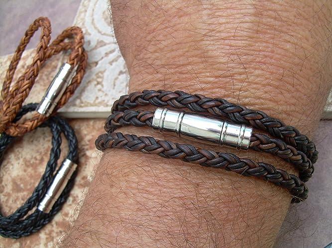 Amazon Com Mens Triple Wrap Braided Leather Bracelet Stainless