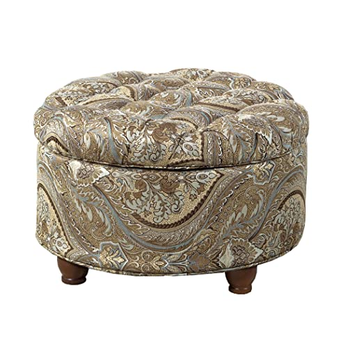 HomePop Large Button Tufted Round Storage Ottoman, Brown and Teal Pasley Renewed