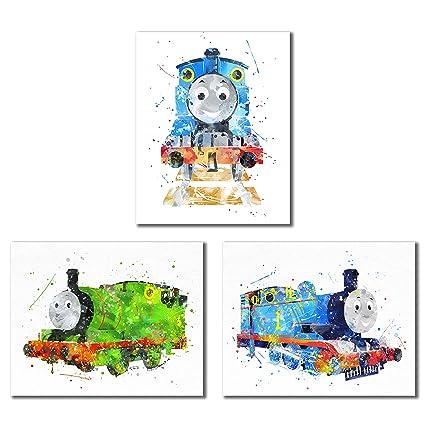 Amazon Com Thomas And Friends Watercolor Train Prints Set Of