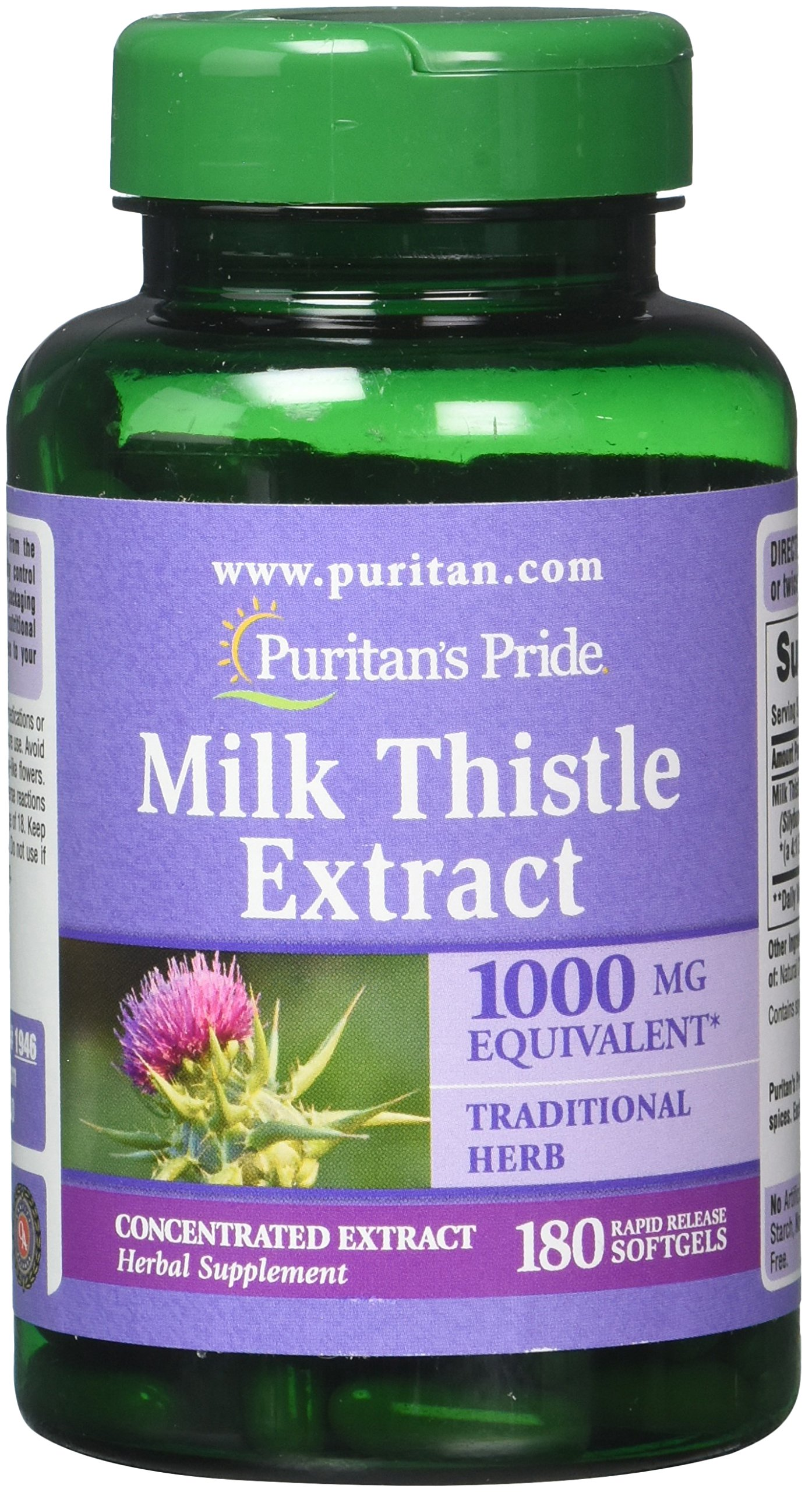 Puritan's Pride Milk Thistle 4:1 Extract 1000 Mg Softgels (Silymarin), 180 Count (Pack of 2)