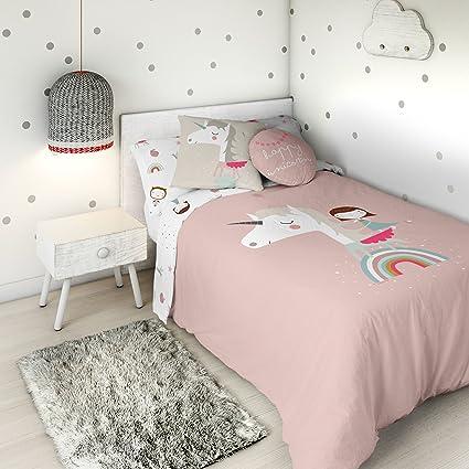 HACIENDO EL INDIO Funda nórdica Reversible Unicorn Pink Cama 105 ...