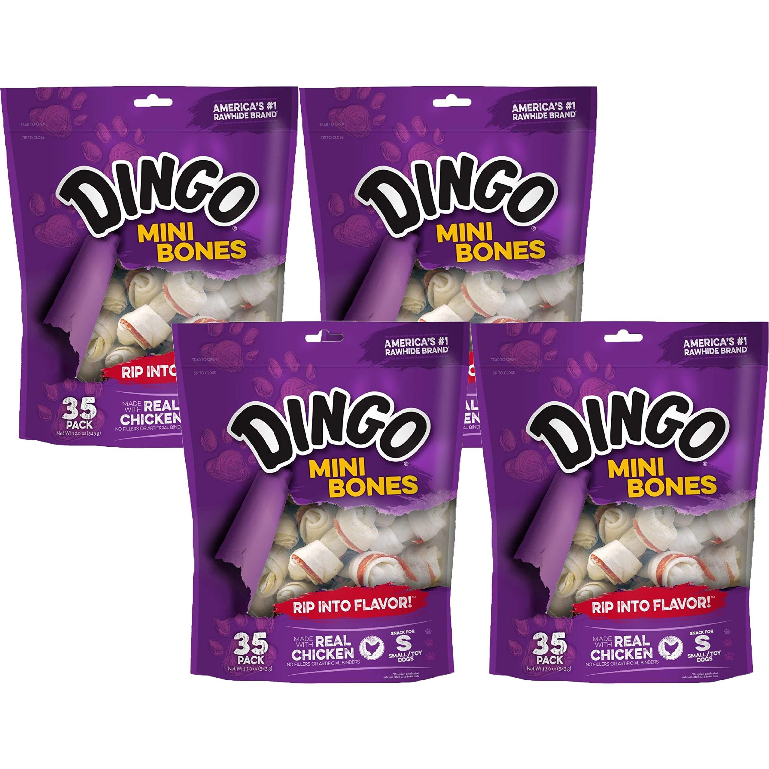 Dingo Non-China Sourced Premium Dog Chews and Treats (140 Count | Mini Bones) by Dingo
