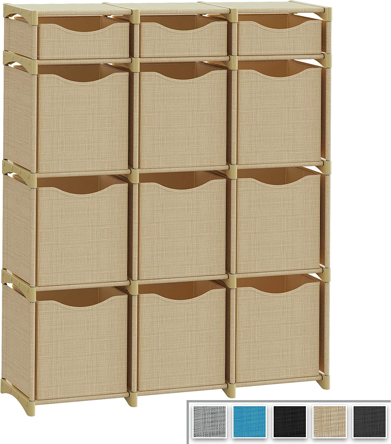 12 Cube Organizer | Set of Storage Cubes Included | DIY Closet Organizer Bins | Cube Organizers and Storage Shelves Unit | Closet Organizer for Bedroom, Playroom, Livingroom, Office, Dorm (Beige)