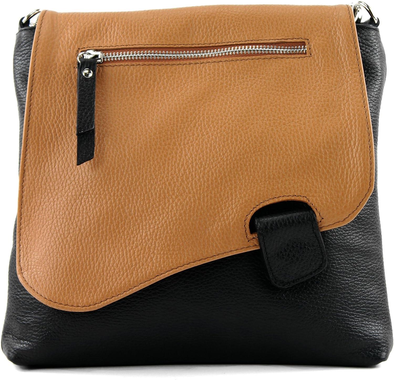 modamoda de - messager ital/sac à bandoulière en cuir T146 Noir / Camel