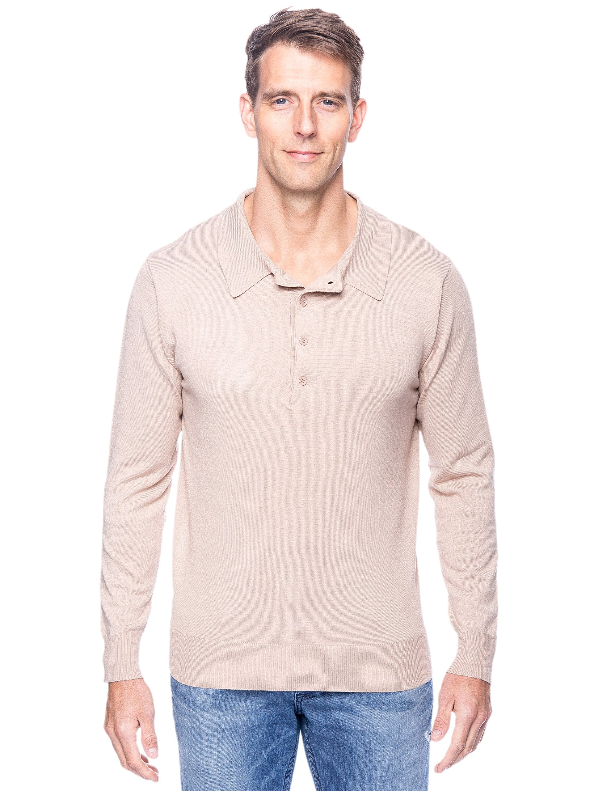 Tocco Reale Men's Classic Knit Long Sleeve Polo Sweater - Stone - M