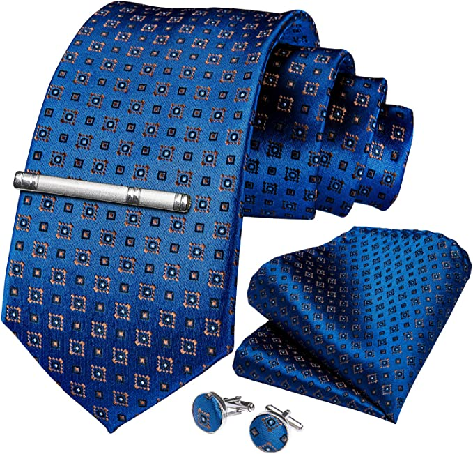 Einstecktuch bestehend aus Herrenkrawatte Manschettenkn/öpfen und Krawattennadel DiBanGu Business-Krawatten-Set aus gewebter Seide