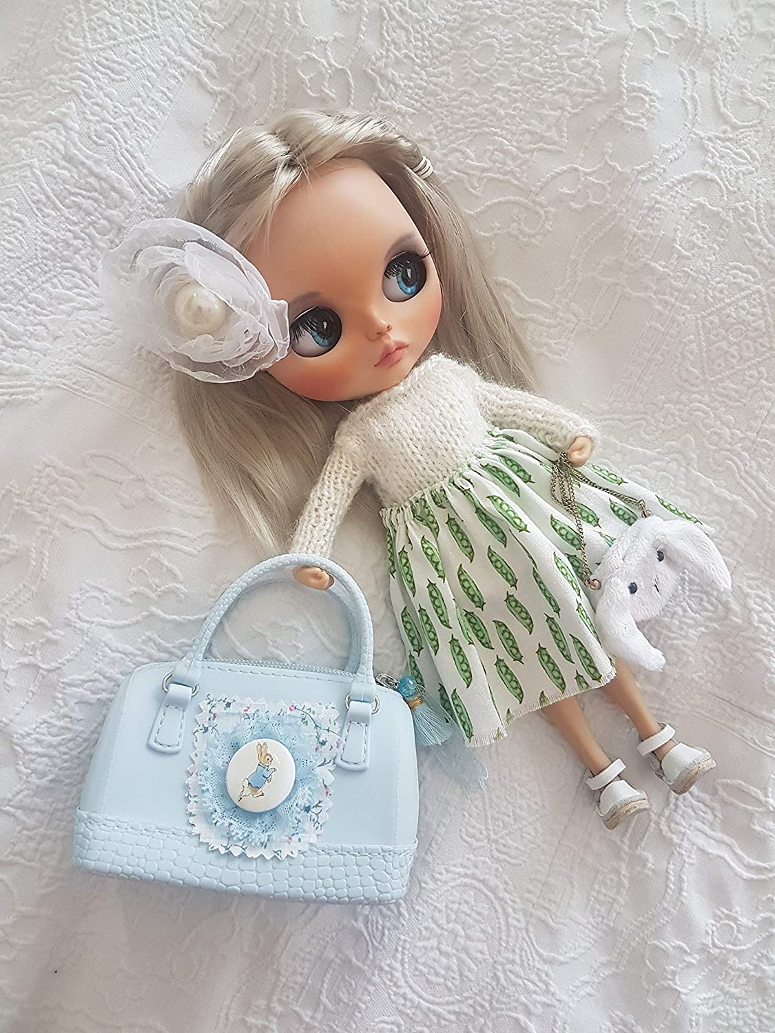 Blythe doll blue travel Peter Rabbit bag trunk luggage