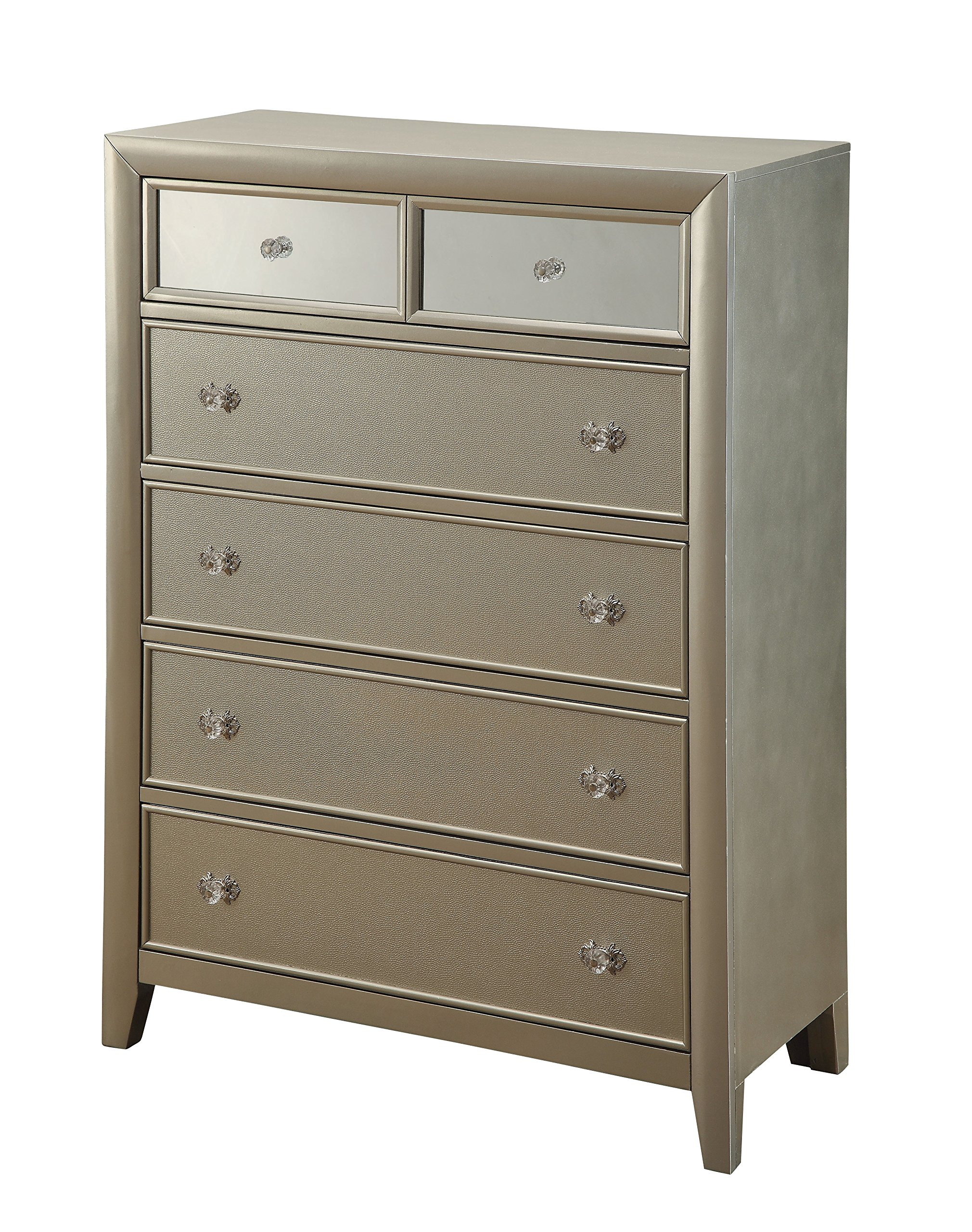 HOMES: Inside + Out ioHOMES Paulina Top Mirror Panel 6-Drawer Chest, Silver by HOMES: Inside + Out