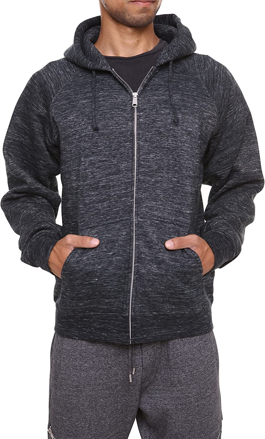 FORBIDEFENSE Men's Sweatshirt Hoodies Full Sleeve-Front Zip Premium Hood 2 Split Pocket