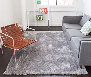 shimmer shag silver grey solid modern luster ultra thick soft plush plain area rug 5 x