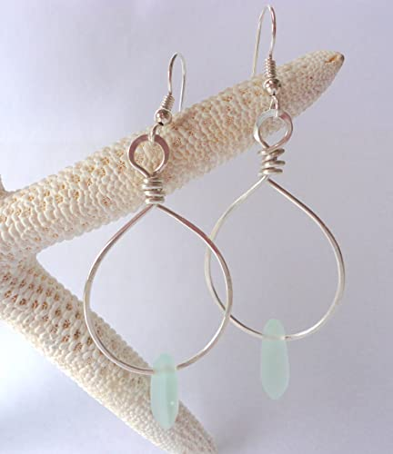 54dfeeb383206 Amazon.com: Sea Glass Hand Wrapped Hoop Earrings-Sterling Silver ...