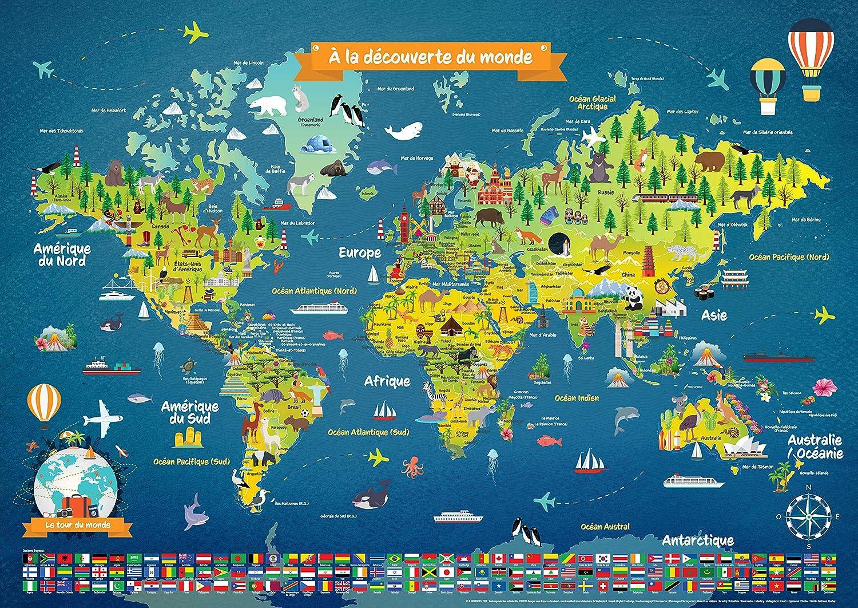 Poster Carte du Monde Laminé pour Enfant | en Français | Grand Planisphère Mural Illustré avec Dessins, Noms des Pays, Drapeaux, Animaux, Monuments | Parfait pour Décoration Murale d'une Chambre Enfant | Cadeau Éducatif Idéal pour Enfant | Pour 5 ans et +