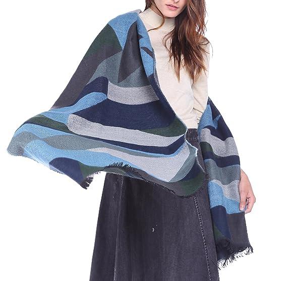 3b16396169a27 Afibi Women's Long Color Block Blanket Shawl Fashion Winter Warm Large Scarf  (Blue)