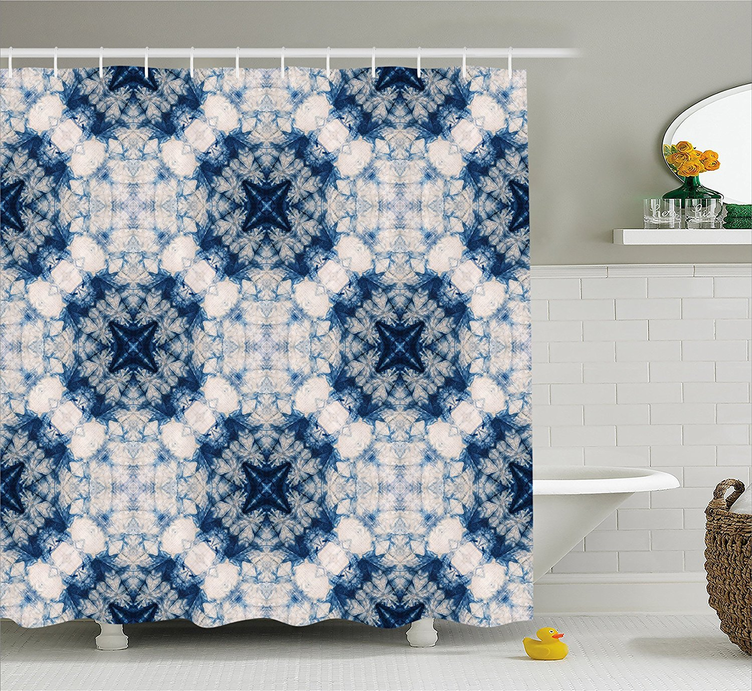 Mirryderr Tie Dye Shower Curtain Tribal Technique Art Featured Odd And Hazy Forms In Symmetric Axis Design Fabric Bathroom Decor Set With Hooks