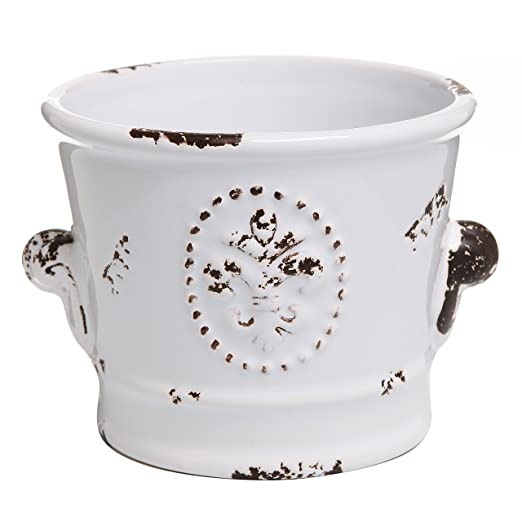 French Country Rustic White Ceramic Planter Flower Pot