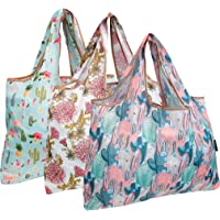 Allydrew Foldable Tote Nylon Reusable Grocery Bag, 3 Pack, Large, Cacti & Chrysanthemums