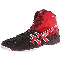Zapatillas de lucha Asics Cael V6.0 para hombre, carb¨®n / rojo fuego / plata, 14 M US