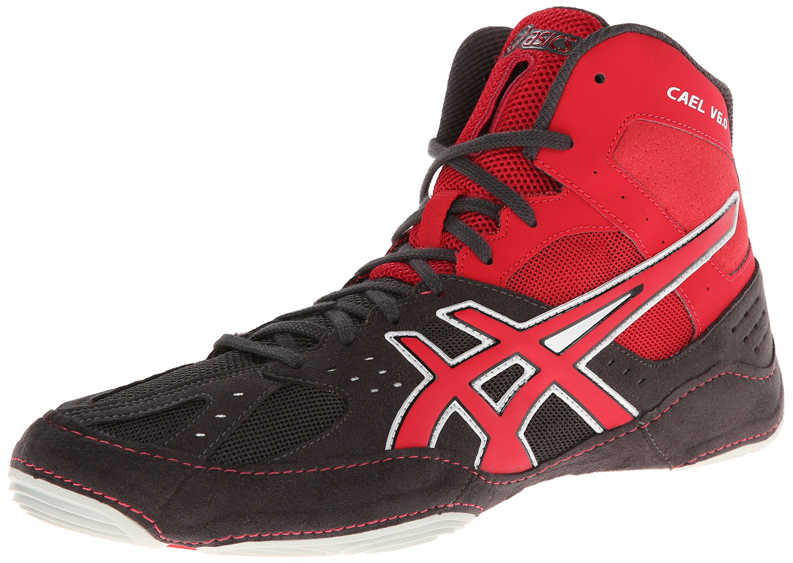 ASICS Men's Cael V6.0 Wrestling Shoe,Charcoal/Fire Red/Silver,10.5 M US