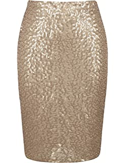 9fb385c18a PrettyGuide Women's Sequin Skirt High Waist Sparkle Pencil Skirt Party  Cocktail