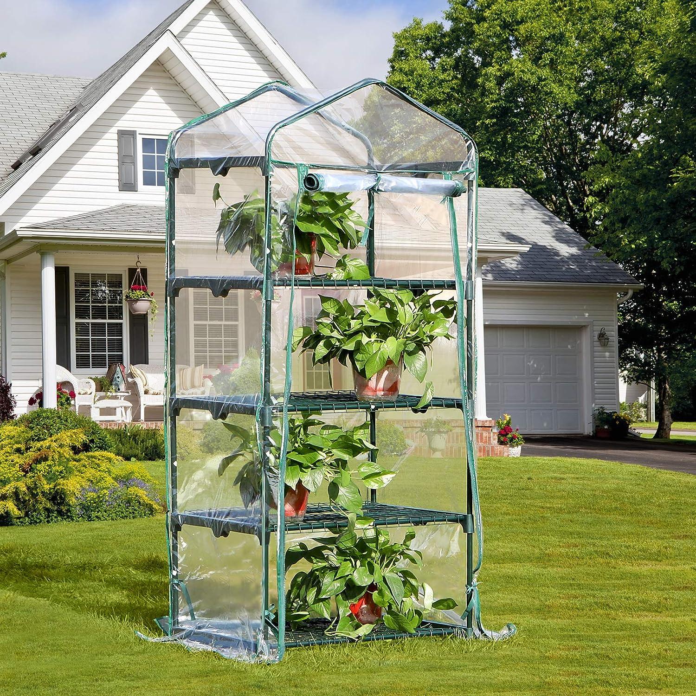 SONGMICS Invernadero para Jardín Terraza Caseta con 4 Estantes para Plantas Tomates Transparente 69 x 49 x 158 cm GWP04WT: Amazon.es: Jardín