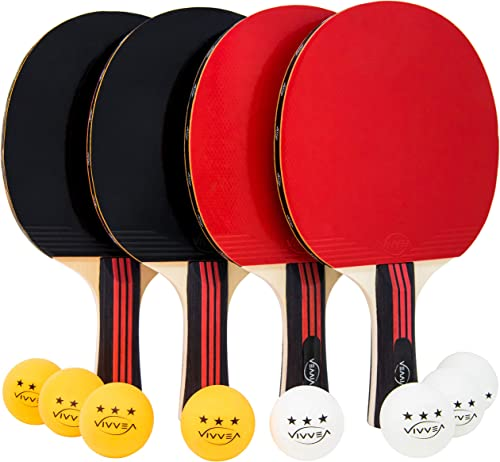VIVVEA Ping Pong Paddle Set – 4 Premium Table Tennis Rackets Pack, 8 Professional Balls and Portable Cover Case Bag – Pro Trainning and Recreational Ping-Pong Paddles Ideal for Outdoor or Indoor Games