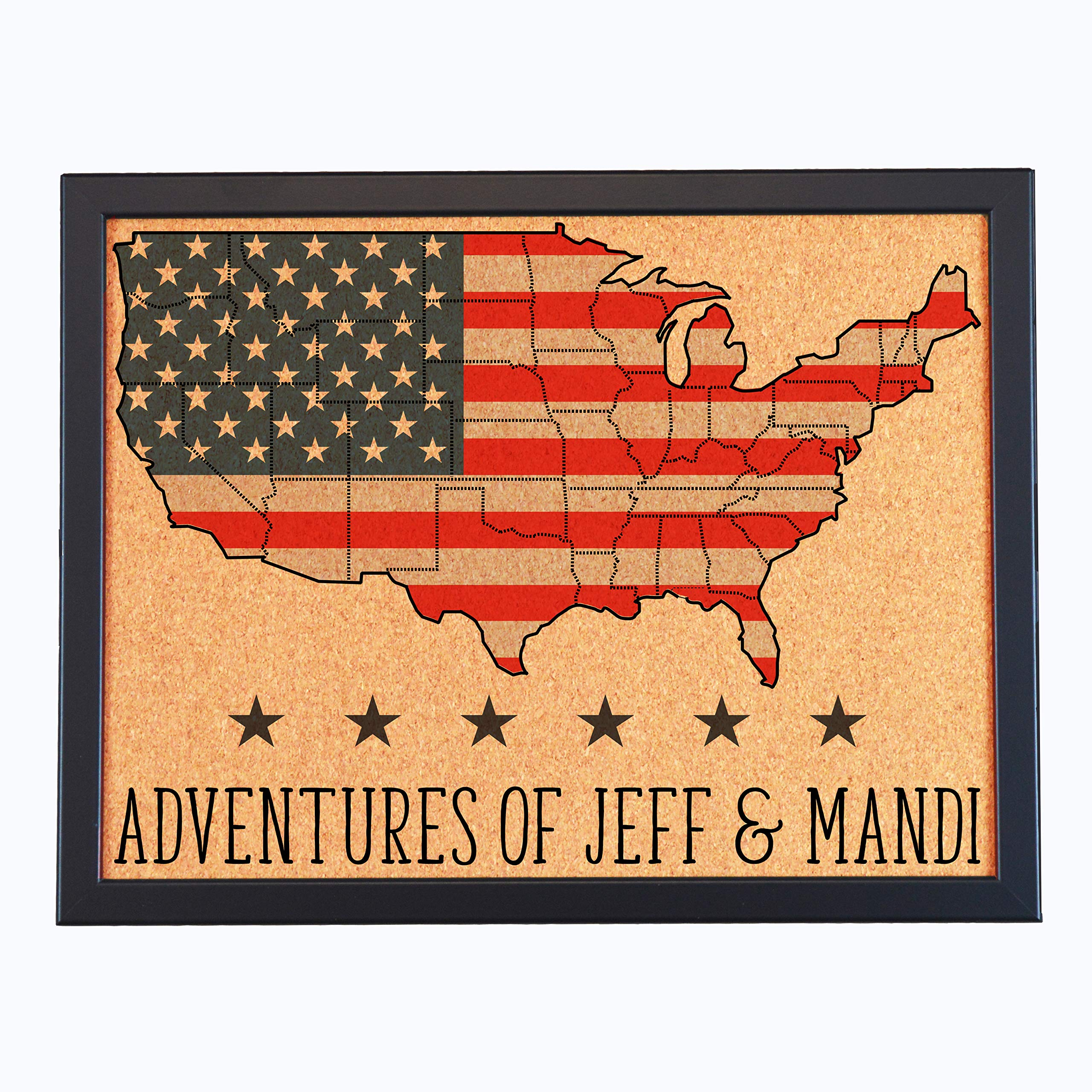 Lindsey Lou Patterns Custom Cork Board Map of Continental US, American Flag by Lindsey Lou Patterns