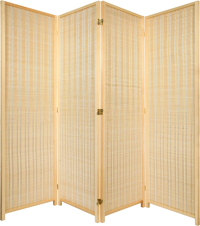 3 Panel Natural Color Wood And Bamboo Weave Room Divider Furniture Kolenik Accent Furniture