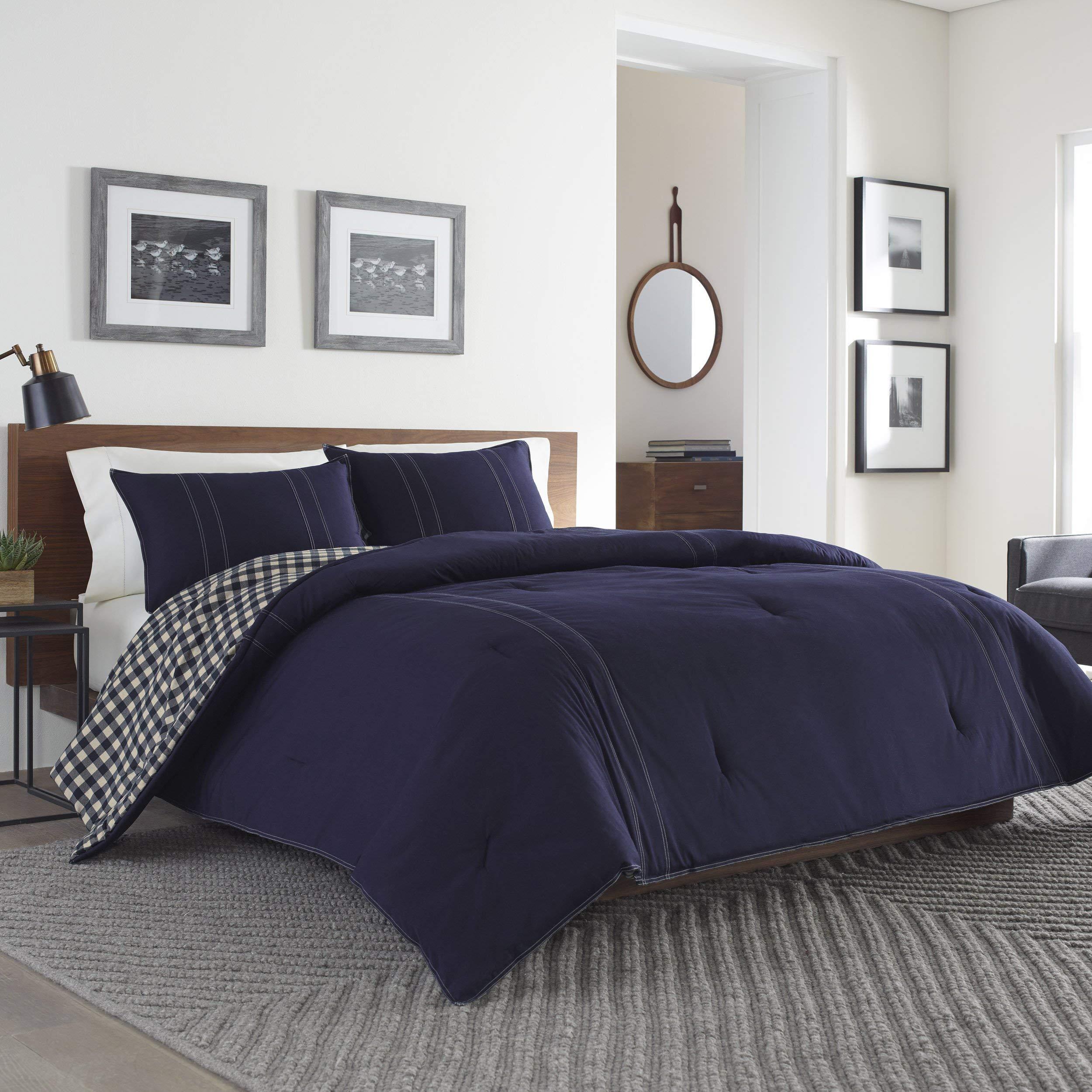 Eddie Bauer 216693 Kingston Reversible Comforter Set, Full/Queen, Navy