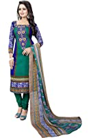 Dress material(Dresses for women party wear Designer Dress Material Today offers buy online in Low Price Sale Blue Color Cotton Fabric Free Size Salwar Suit Material)