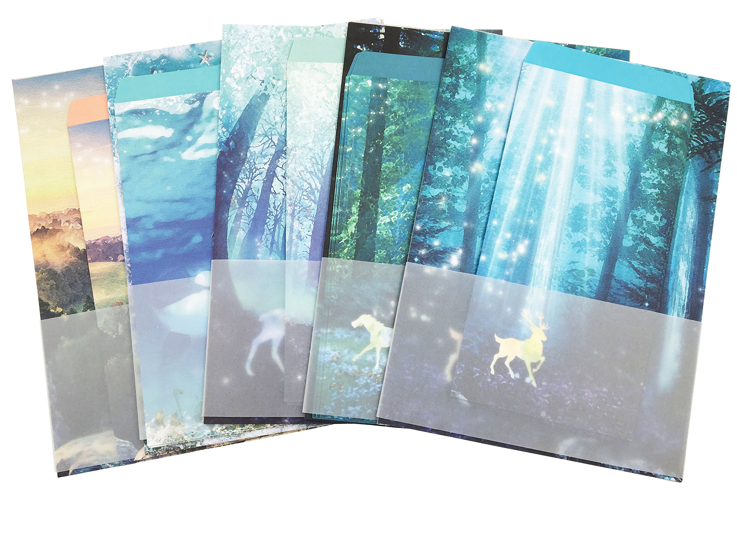 Eternityfing Natural Scenery Lined Writing Paper and Envelopes Stationery Sets-30 Sheets with 15pcs Envelopes