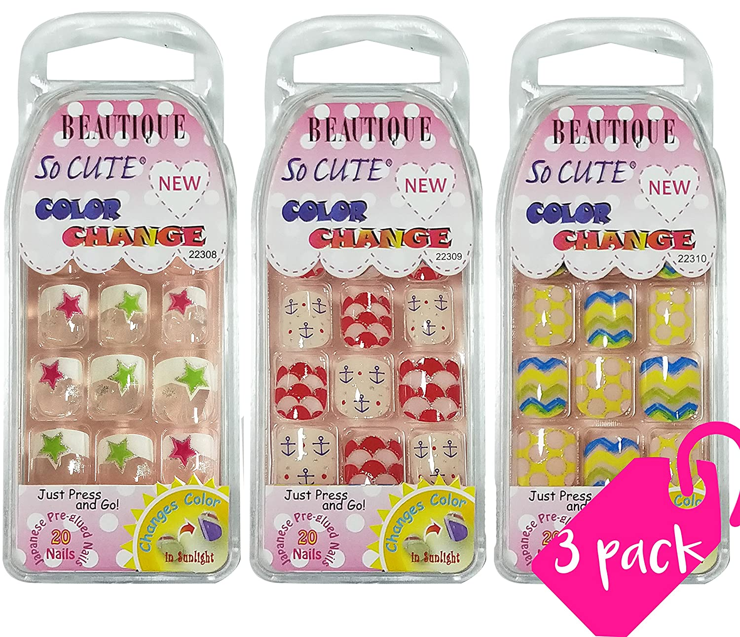 Beautia 3PACK So Cute Color Changing Nail for Kids 22308/22309/22310(Sticker Nails)