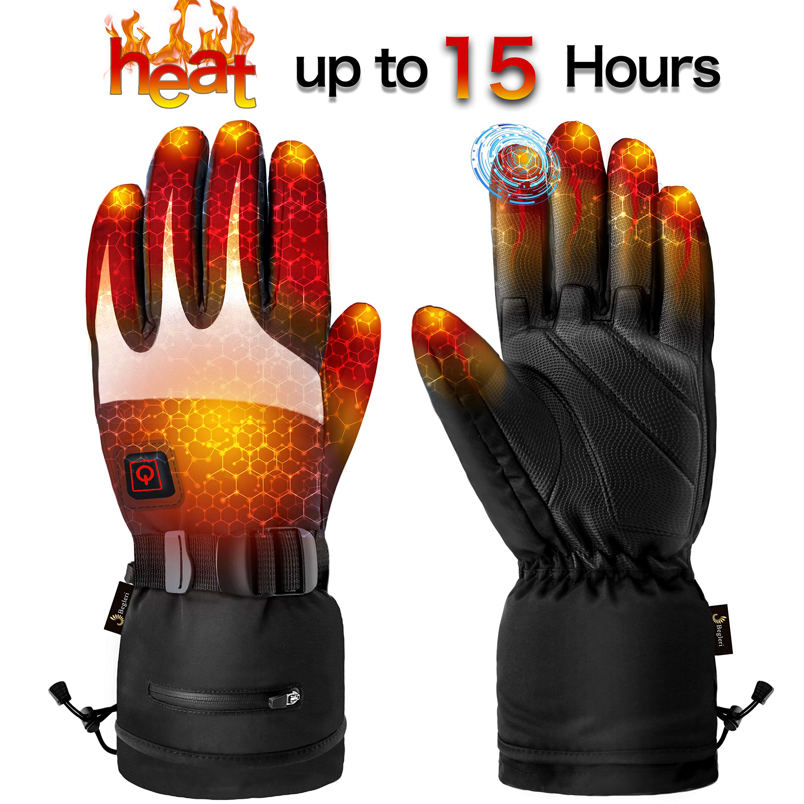 Heated Gloves Men Women - Electric Winter Gloves Rechargeable Heated Motorcycle Gloves, Battery Heating Gloves Waterproof for Snowing Hunting Skiing Climbing by Begleri