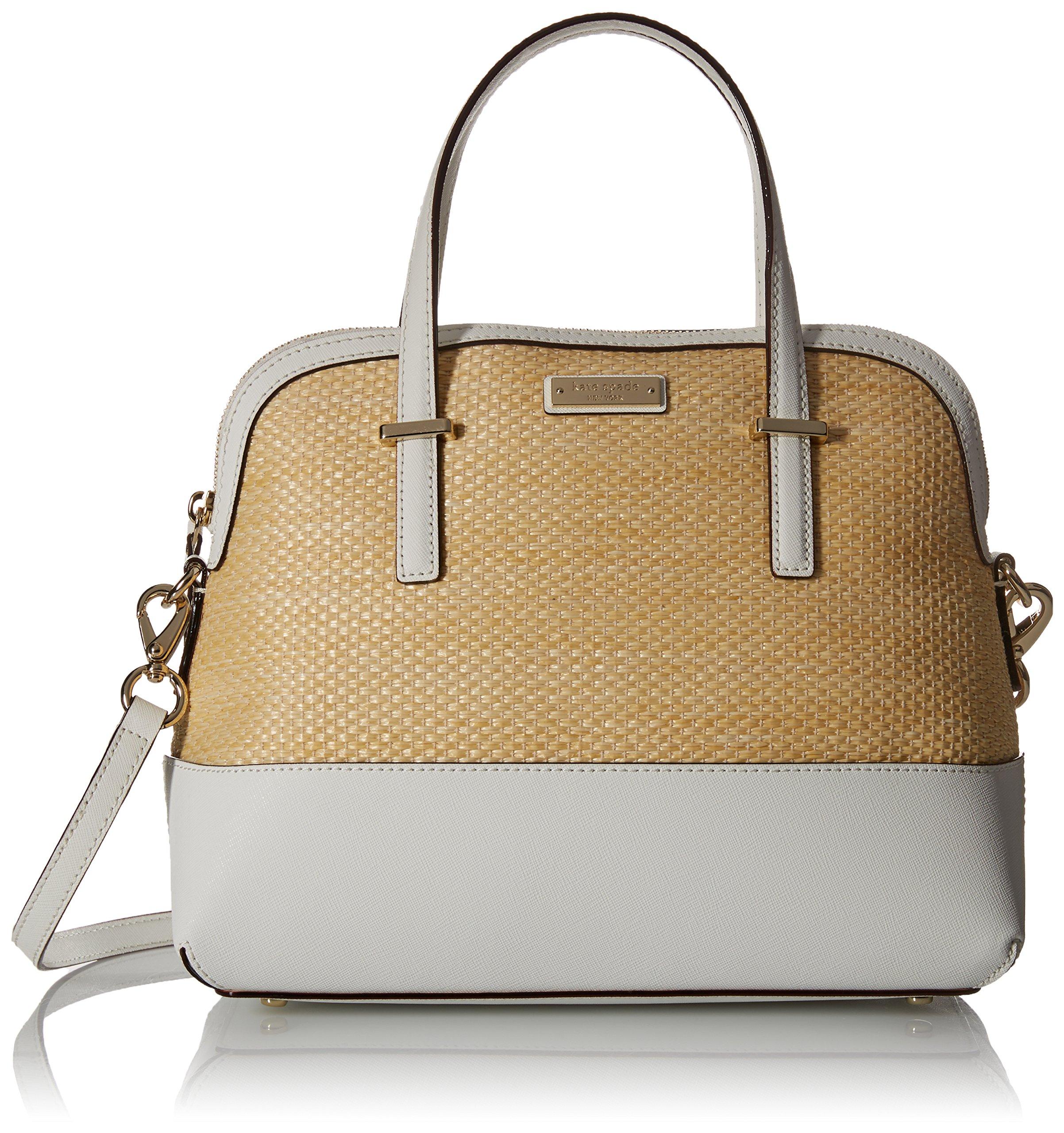 kate spade new york Cedar Street Straw Maise Satchel Bag, Natural/Bright White, One Size