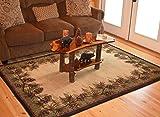 Rustic Lodge Pine Cone Border Brown 5x7 Area