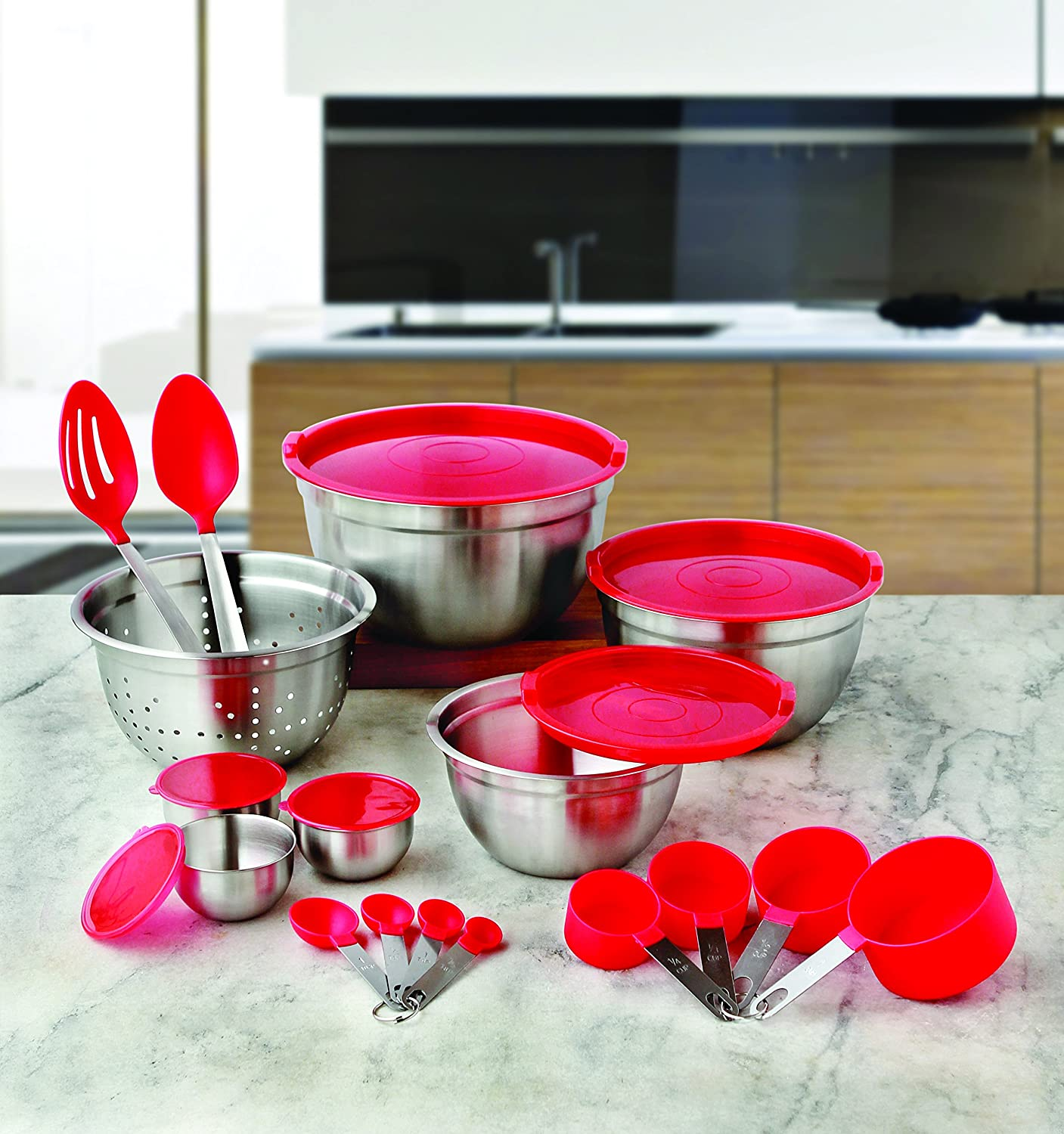 Better Homes and Gardens 23-Piece Gadget and Utensil Set (Red)