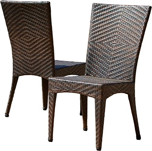 Christopher Knight Home Brooke Outdoor Wicker Chairs, 2-Pcs Set, Multibrown