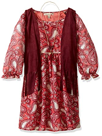 ef6a7d08b Amazon.com: Speechless Girls' Big Peasant Dress with Fringed Vest: Clothing
