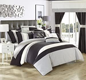 Chic Home Covington 24 Piece Comforter Set Embroidered Bed in a Bag with Sheets Curtains, King, Black